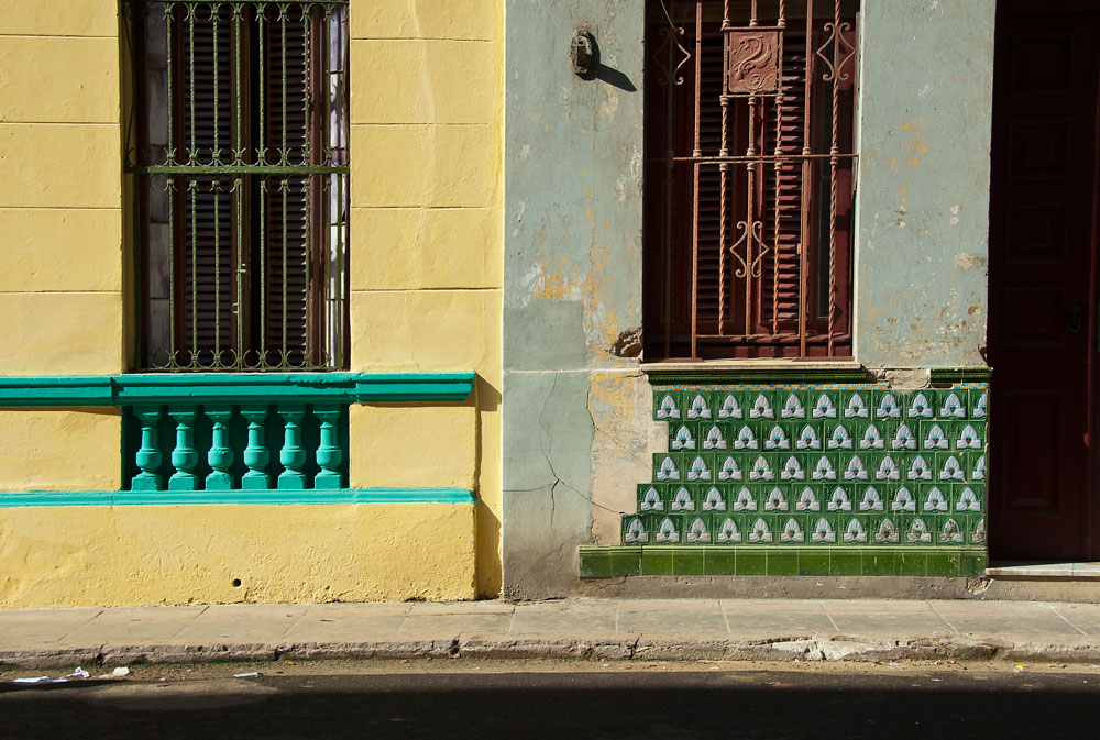Colorful tile work on a building in Havana