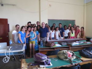 Dr. Patrick Frantom with biochemistry class in Cuba. March 2015
