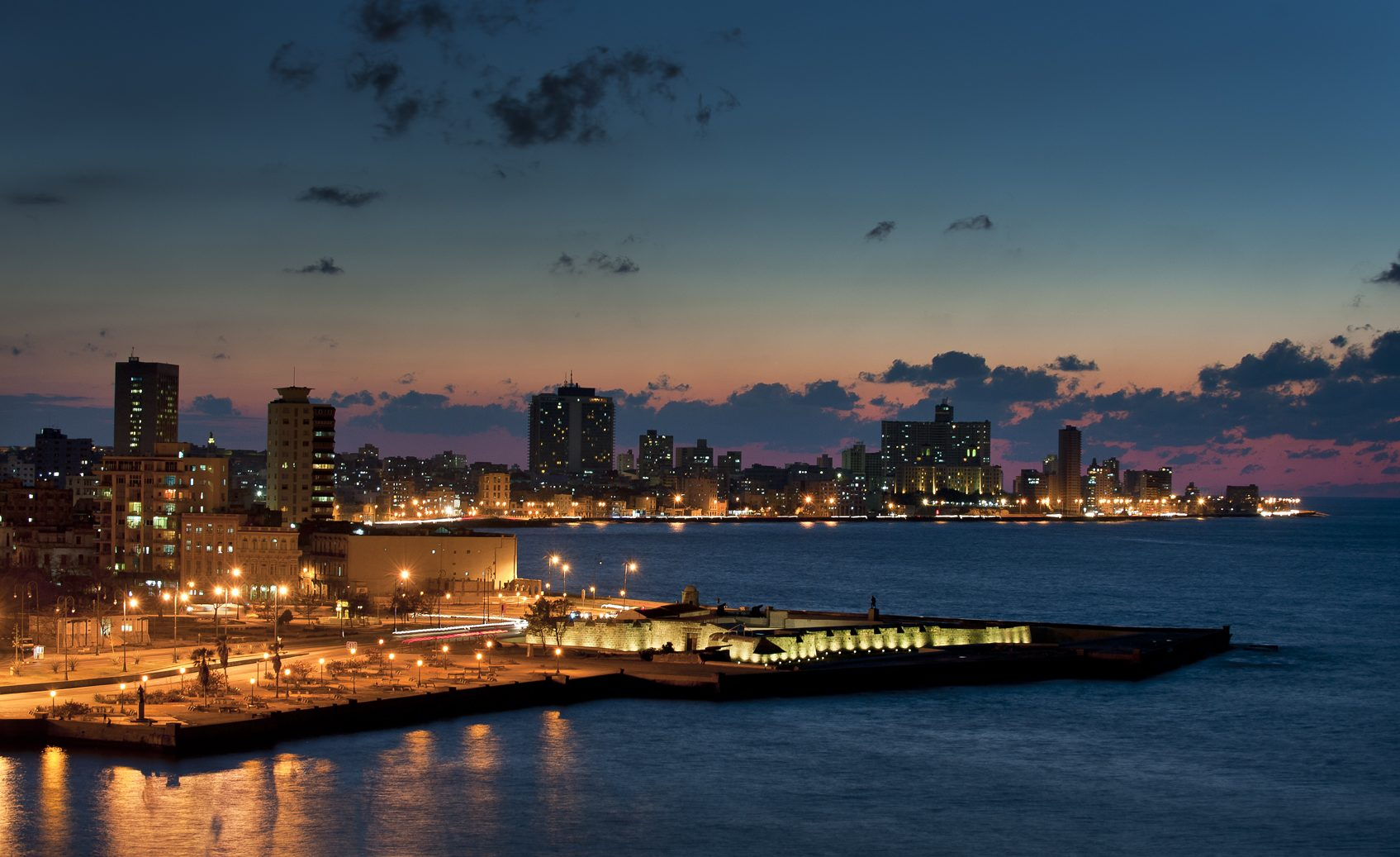 Havana Harbor Night Skyline – January 2009